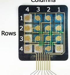 each row and column is brought out to a single pin for a total of 8 pins on a 4x4 keypad  [ 1024 x 1205 Pixel ]