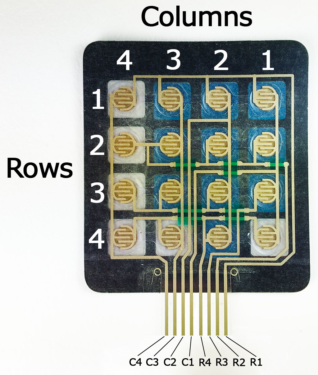 hight resolution of each row and column is brought out to a single pin for a total of 8 pins on a 4x4 keypad