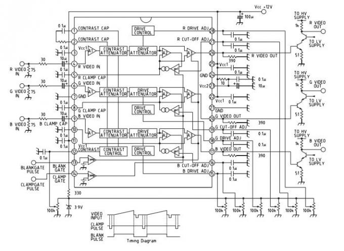 MM1205 Integrated Circuit Chip 85MHz RGB Video Amplifier