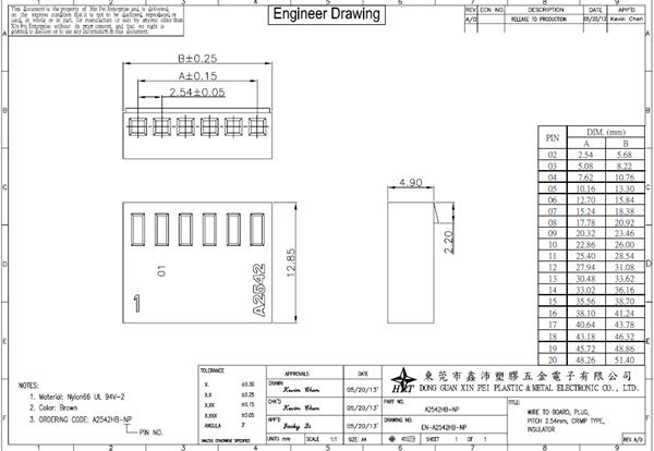 Pitch 2.54mm Single Row 02p To 20p Housing PA66 UL94V-0