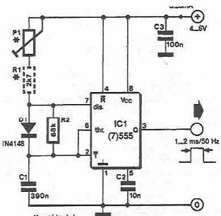 Generator de impulsuri pentru servomecanisme cu timer 555