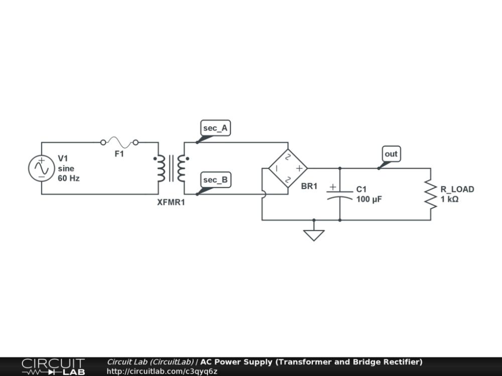 medium resolution of ac power supply transformer and bridge rectifier public