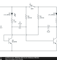 blinking led circuit velleman mk102 public [ 1024 x 768 Pixel ]