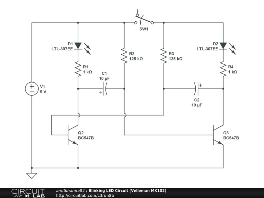 medium resolution of blinking led circuit velleman mk102 public