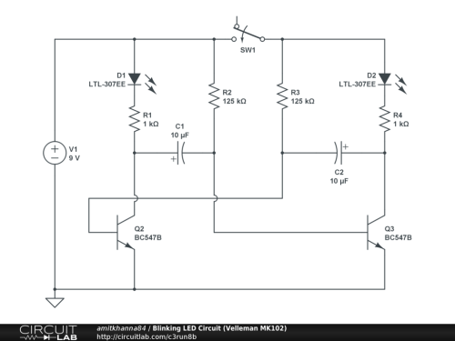 small resolution of blinking led circuit velleman mk102 public