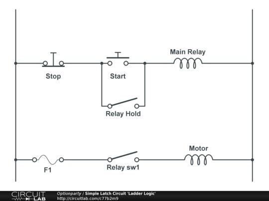 wiring diagram for latching relay 2003 saturn vue fuel pump basic latch simple circuit u0027ladder logic u0027 circuitlabbasic