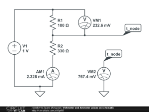 Voltmeter and Ammeter values on schematic  CircuitLab