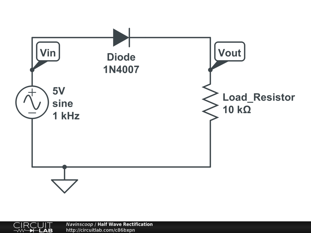 Circuit diagram of half wave rectifier with filter