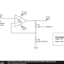Circuit Diagram Of Non Inverting Amplifier Visio Uml Deployment Op Amp With Parameters Circuitlab Description This Schematic