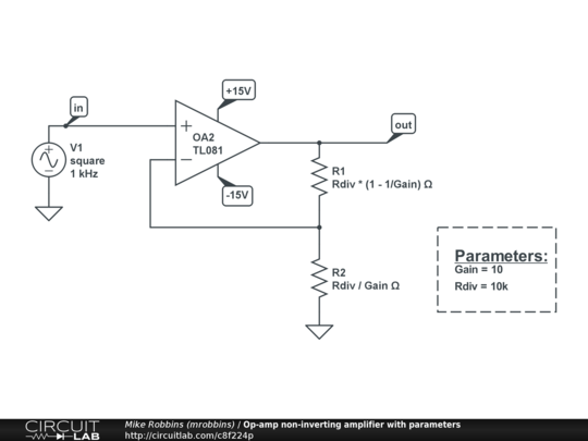 circuit diagram of non inverting amplifier ford f350 wiring free op amp with parameters circuitlab description this schematic