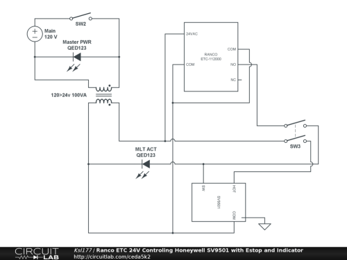 small resolution of ranco etc 24v controling honeywell sv9501 with estop and indicator oil furnace thermostat wiring diagram ranco wiring diagrams