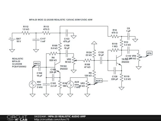 100 Amp Wiring Diagram Mpa 20 Realistic Audio Amp Circuitlab