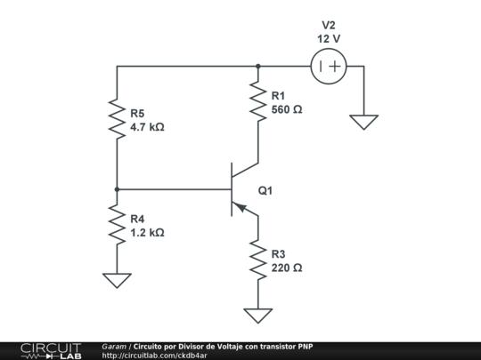 Circuito por Divisor de Voltaje con transistor PNP