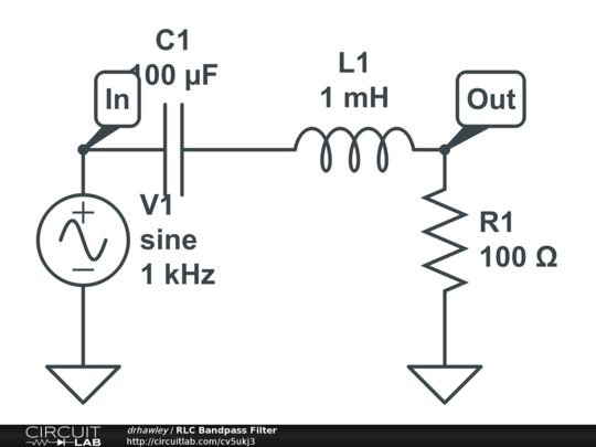 circuitlab rlc bandpass filter