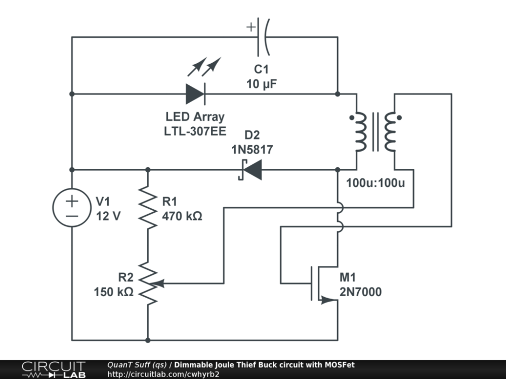 medium resolution of dimmable joule thief buck circuit with mosfet