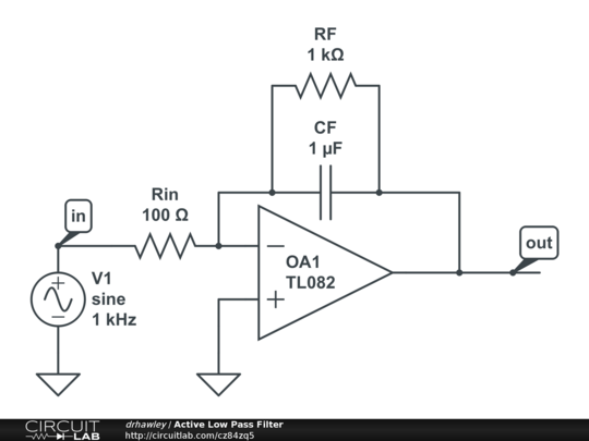 circuitlab active low pass filter