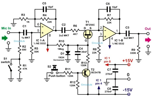 application of the experimental microphone preamplifier circuit