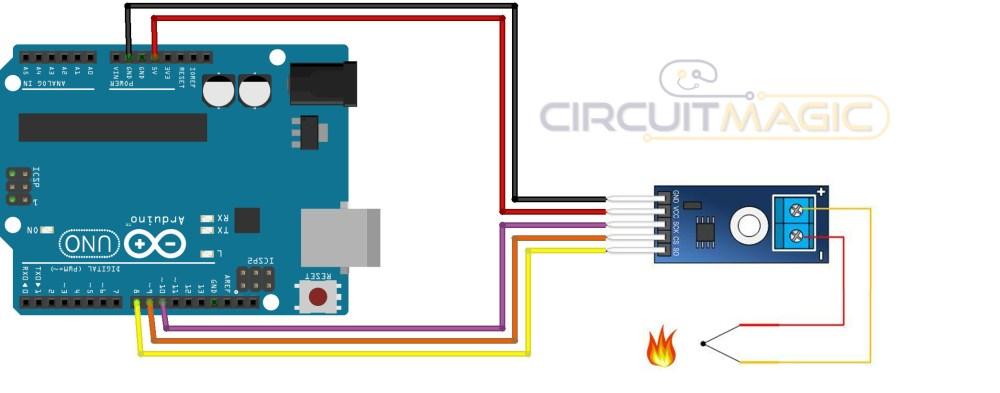 medium resolution of temperature sensor with arduino u2013 k type thermocouple sensor max6675k type temperature controller circuit diagram