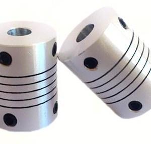 2 pezzi Accopiatori Flessibili in Alluminio Foro 7x7