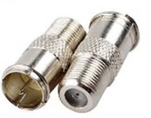 Connettore tipo F, femmina da F-pin filettata a maschio F-pin rapido (200-103), collega due cavi video RG6 coassiali, maschio a