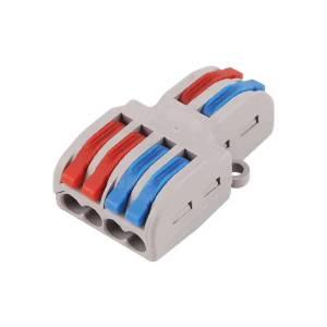 Connettore SPL-42 per cavo AWG 28-12 2 in 4 out universale compatto Leva push-in veloce