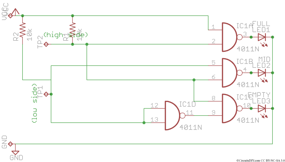 medium resolution of note full water level could be shown in one led only but to make the circuit much simpler i used one logic ic and hence the result being all leds on at