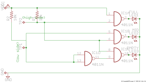 small resolution of note full water level could be shown in one led only but to make the circuit much simpler i used one logic ic and hence the result being all leds on at