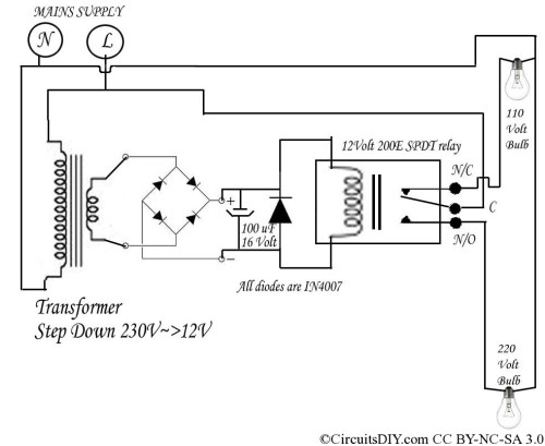 small resolution of 220 volt to 110 volt auto bulb changer circuit