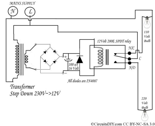 small resolution of 220 volt to 110 volt auto bulb changer circuit circuits diy 220 volt electrical wiring diagram