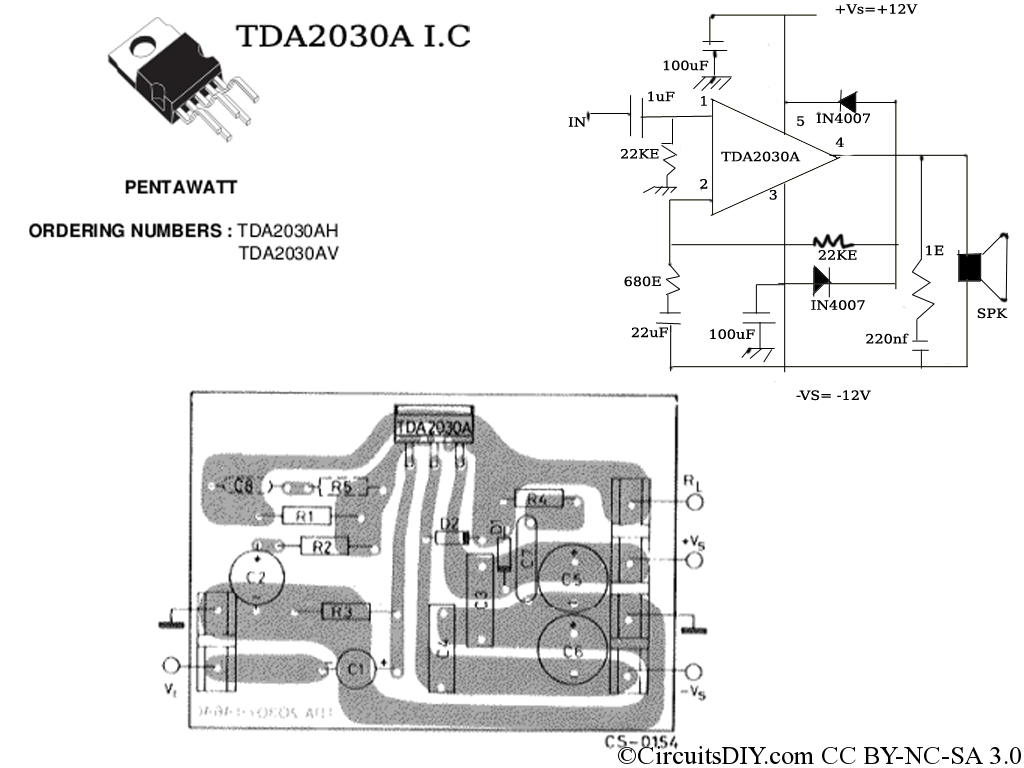 hight resolution of tda2030a amplifier circuit