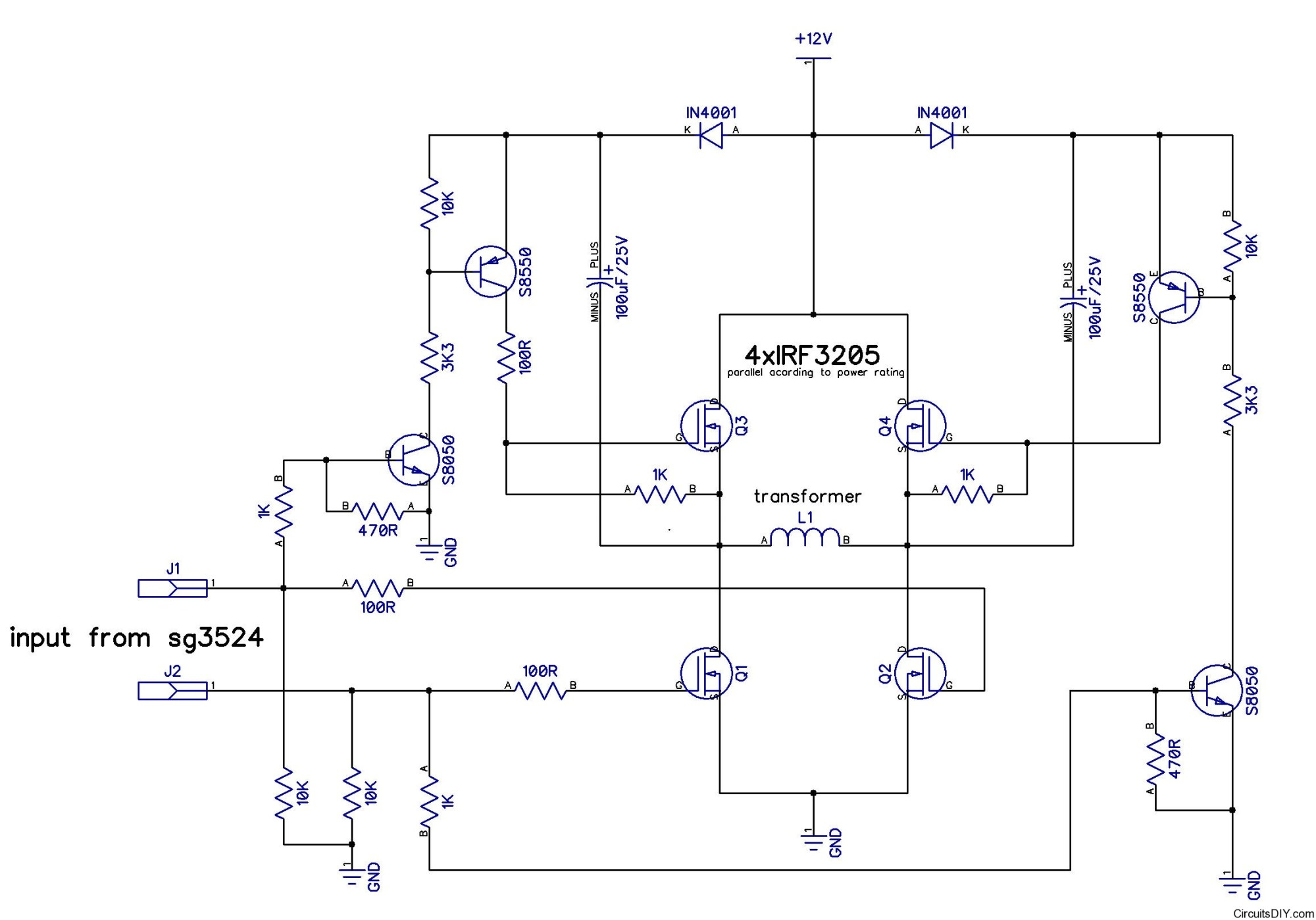hight resolution of h bridge inverter power stage with passives circuits diy have a simple hbridge circuit set up following this schematic
