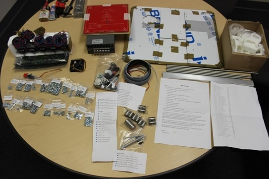 The unpacked kit, ready for assembly