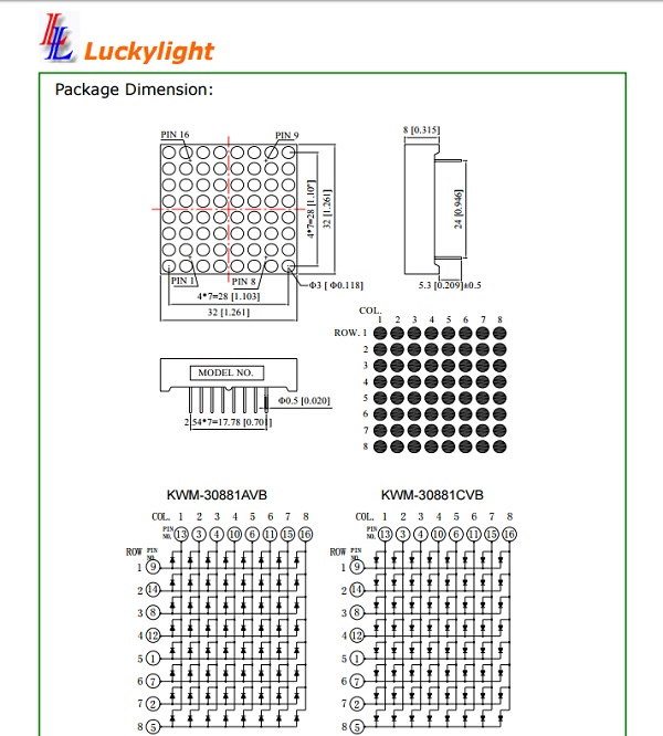 Luckylight KWM-30881CVB LED Matrix Datasheet Diagram