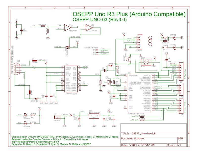 OSEPP Uno R3 Plus Schematic - Source: OSEPP
