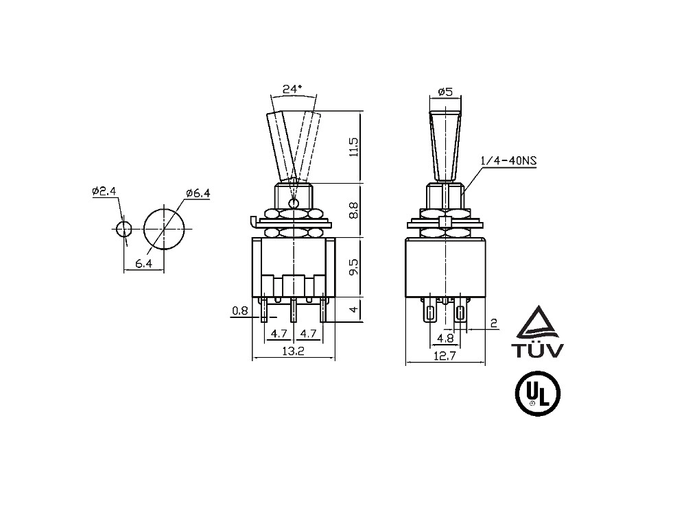 3P ON-OFF-ON/SPDT Mini Toggle Switch