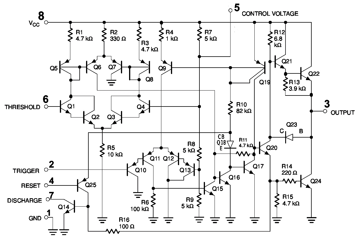 555 Timer Internal Schematic