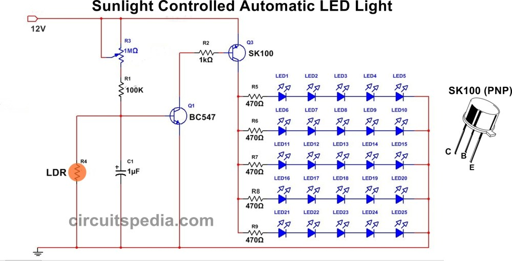 medium resolution of in this circuit 25 high bright white led used each row of series connection there light activated switch circuit diagram