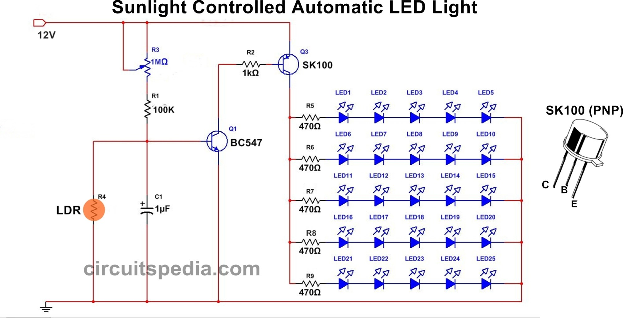 hight resolution of in this circuit 25 high bright white led used each row of series connection there light activated switch circuit diagram