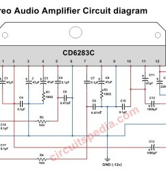 cd6283 stereo audio amplifier circuit diagram [ 1248 x 821 Pixel ]