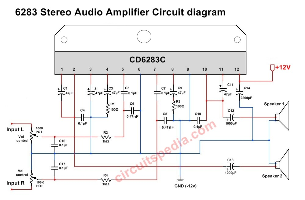 medium resolution of cd6283 stereo audio amplifier circuit diagram