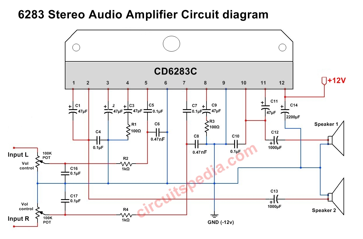 hight resolution of cd6283 stereo audio amplifier circuit diagram