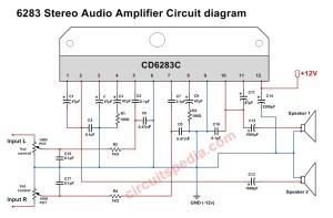 A6283CD6283 Stereo Audio Amplifier Circuit Diagram, 6283