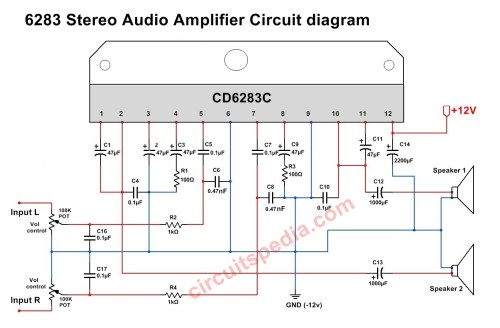 small resolution of cd6283 stereo audio amplifier circuit diagram