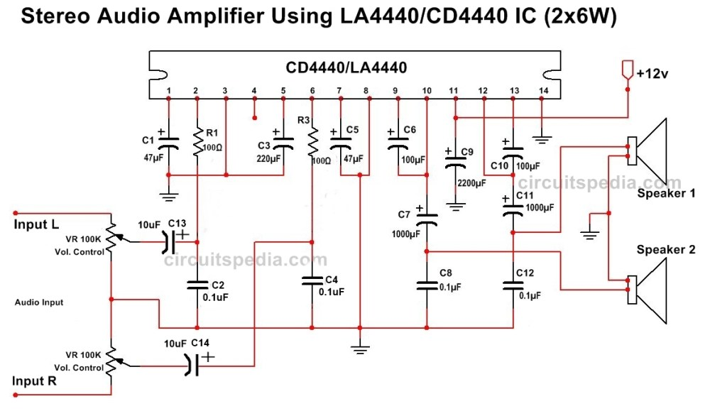 medium resolution of la4440 cd4440 stereo audio amplifier circuit diagram
