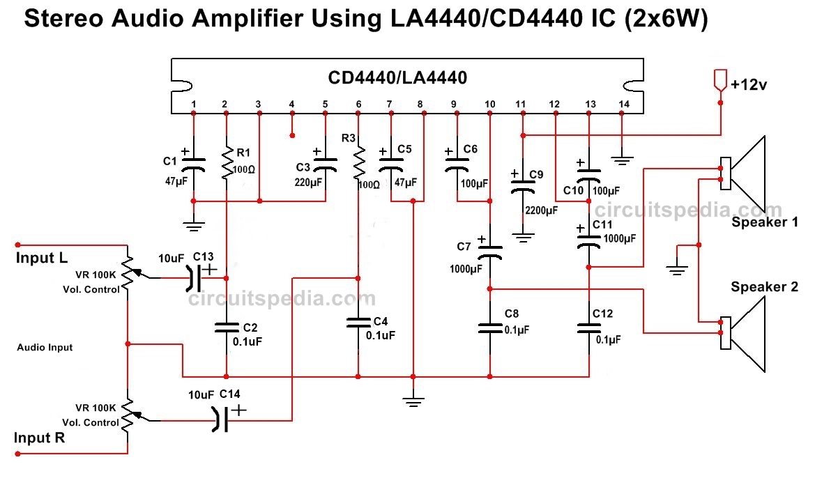 hight resolution of la4440 cd4440 stereo audio amplifier circuit diagram