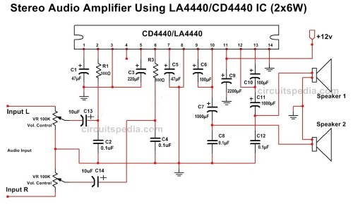 small resolution of la4440 cd4440 stereo audio amplifier circuit diagram