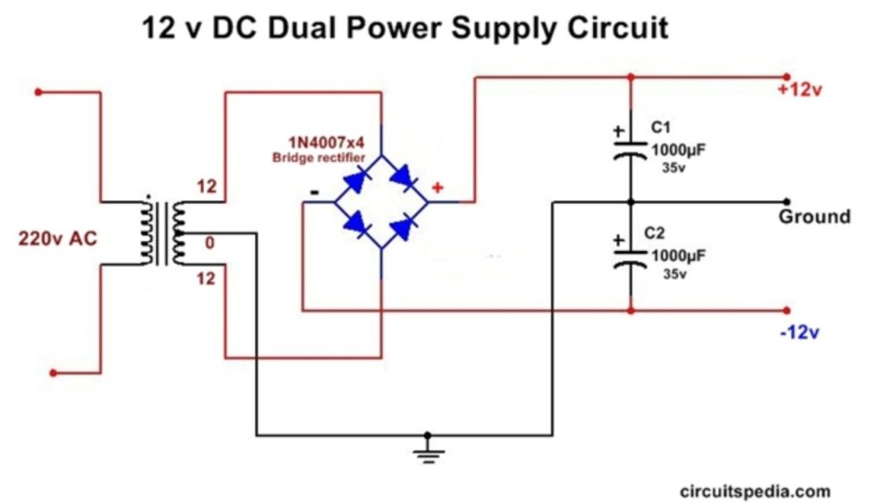 medium resolution of dc dual power supply circuit diagram 12v 15v 9v regulated dual power supply