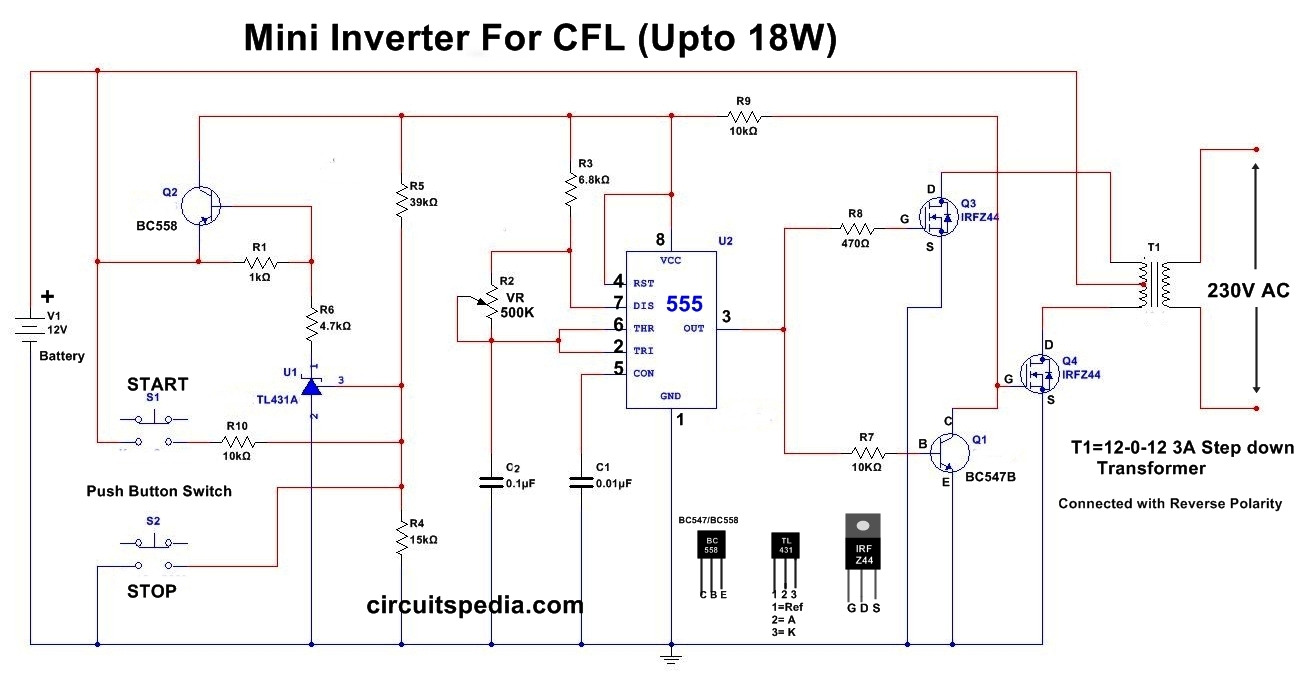 hight resolution of cfl supply driver inverter circuit