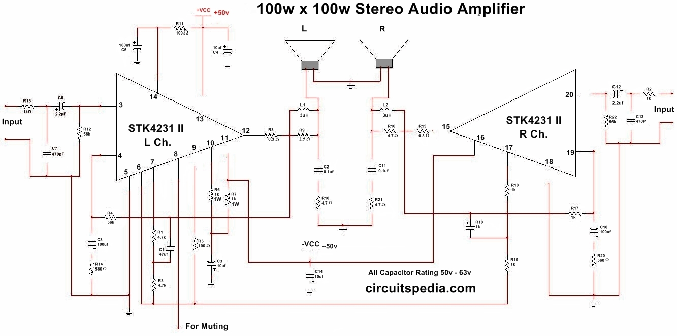 100w subwoofer amplifier circuit diagram 2002 lincoln ls wiring toyskids co stk4231 ii stereo audio 100 rh circuitspedia com mosfet