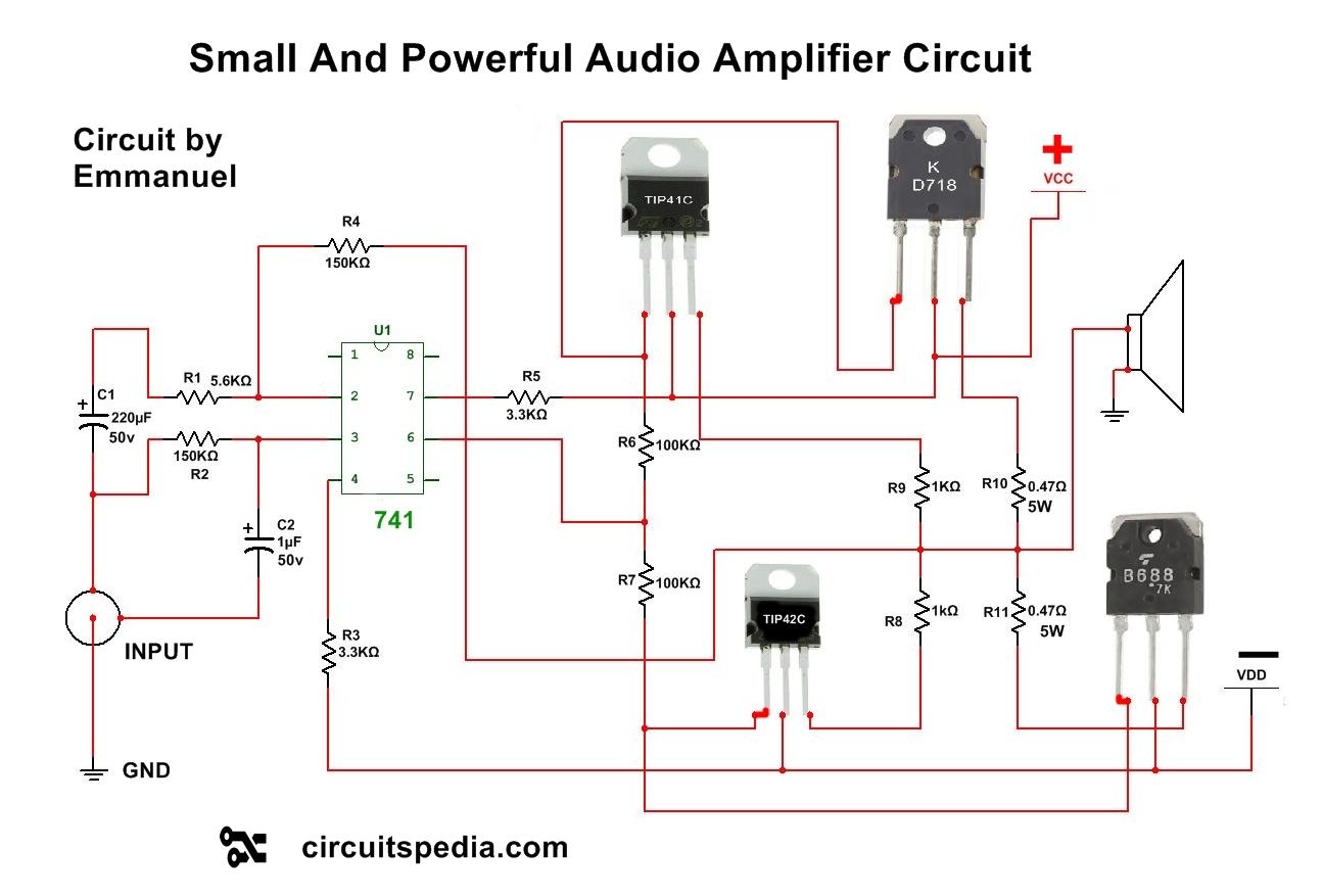 hight resolution of  audio amplifier circuit using transistors